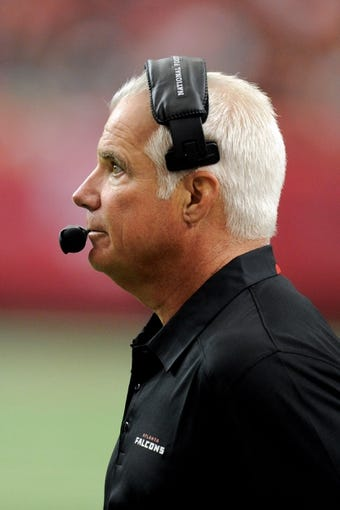 Oct 20, 2013; Atlanta, GA, USA; Atlanta Falcons head coach Mike Smith shown on the sidelines during the game against the Tampa Bay Buccaneers during the second half at the Georgia Dome. The Falcons defeated the Buccaneers 31-23.  Mandatory Credit: Dale Zanine-USA TODAY Sports