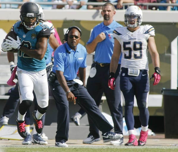Oct 20, 2013; Jacksonville, FL, USA; Jacksonville Jaguars wide receiver Mike Brown (12) catches a pass in the fourth quarter of their game against the San Diego Chargers at EverBank Field. The San Diego Chargers defeated the Jacksonville Jaguars 24-6. Mandatory Credit: Phil Sears-USA TODAY Sports