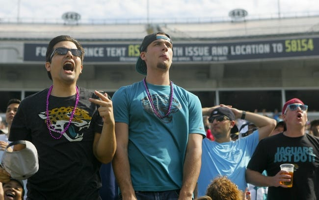 Oct 20, 2013; Jacksonville, FL, USA; Jacksonville Jaguars fans react in the final minute of the second quarter of their game against the San Diego Chargers at EverBank Field. The San Diego Chargers defeated the Jacksonville Jaguars 24-6. Mandatory Credit: Phil Sears-USA TODAY Sports