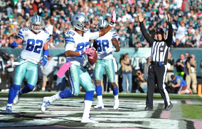 October 20, 2013; Philadelphia, PA, USA; Dallas Cowboys wide receiver Terrance Williams (83) celebrates a touchdown against the Philadelphia Eagles during the second half action at Lincoln Financial Field. Mandatory Credit: Jeffrey Pittenger