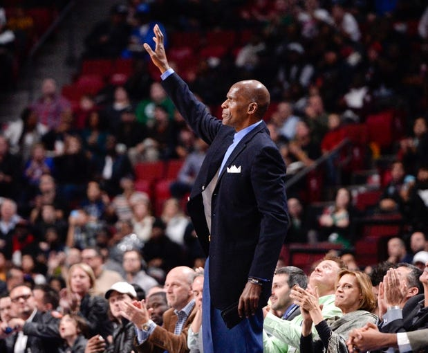 Oct 20, 2013; Montreal, Quebec, CAN; NBA legend Robert Parish acknowledges the crowd during the game between the Boston Celtics and the Minnesota Timberwolves at the Bell Centre. Mandatory Credit: Eric Bolte-USA TODAY Sports