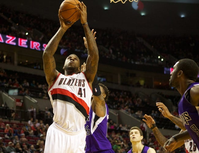 Oct 20, 2013; Portland, OR, USA; Portland Trail Blazers power forward Thomas Robinson (41) shoots against the Sacramento Kings in the second half at Moda Center. Mandatory Credit: Jaime Valdez-USA TODAY Sports