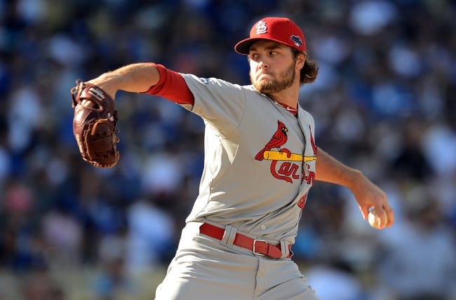 October 16, 2013; Los Angeles, CA, USA; St. Louis Cardinals relief pitcher Kevin Siegrist (46) during game five of the National League Championship Series against the Los Angeles Dodgers at Dodger Stadium. Mandatory Credit: Jayne Kamin-Oncea-USA TODAY Sports
