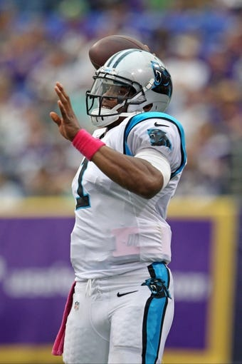 Oct 13, 2013; Minneapolis, MN, USA; Carolina Panthers quarterback Cam Newton (1) throws against the Minnesota Vikings at Mall of America Field at H.H.H. Metrodome. The Panthers defeated the Vikings 35-10. Mandatory Credit: Brace Hemmelgarn-USA TODAY Sports