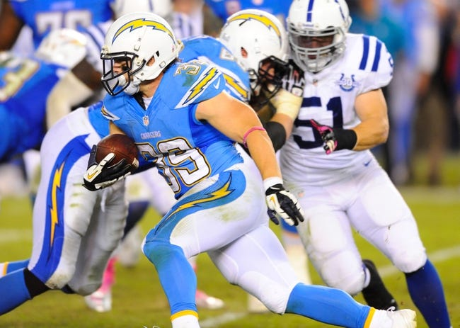 Oct 14, 2013; San Diego, CA, USA; San Diego Chargers running back Danny Woodhead (39) runs for a short gain during the second half against the Indianapolis Colts at Qualcomm Stadium. The Chargers won 19-9. Mandatory Credit: Christopher Hanewinckel-USA TODAY Sports