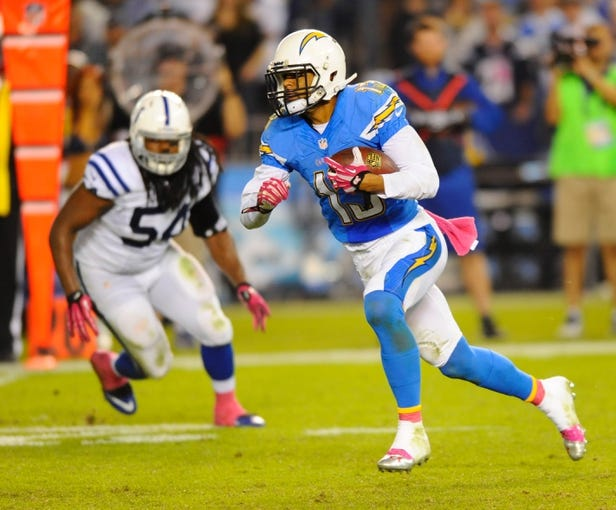 Oct 14, 2013; San Diego, CA, USA; San Diego Chargers receiver Keenan Allen (13) runs after a reception during the second half against the Indianapolis Colts at Qualcomm Stadium. The Chargers won 19-9. Mandatory Credit: Christopher Hanewinckel-USA TODAY Sports