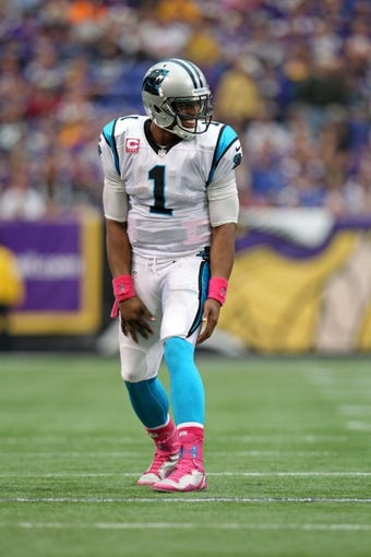 Oct 13, 2013; Minneapolis, MN, USA; Carolina Panthers quarterback Cam Newton (1) against the Minnesota Vikings at Mall of America Field at H.H.H. Metrodome. The Panthers defeated the Vikings 35-10. Mandatory Credit: Brace Hemmelgarn-USA TODAY Sports
