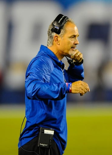 Oct 14, 2013; San Diego, CA, USA; Indianapolis Colts head coach Chuck Pagano yells from the sidelines during the second half against the San Diego Chargers at Qualcomm Stadium. The Chargers won 19-9. Mandatory Credit: Christopher Hanewinckel-USA TODAY Sports