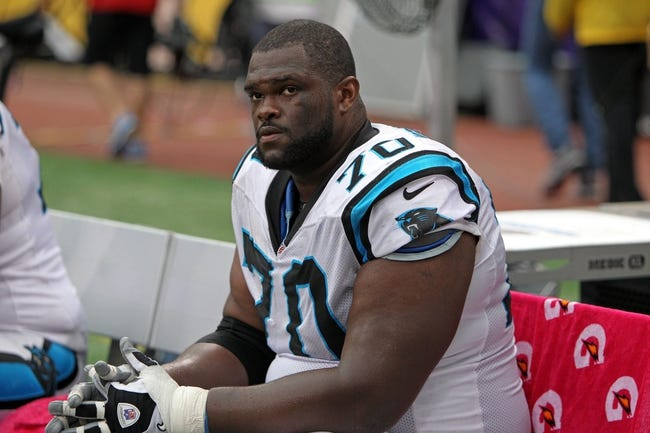 Oct 13, 2013; Minneapolis, MN, USA; Carolina Panthers guard Travelle Wharton (70) against the Minnesota Vikings at Mall of America Field at H.H.H. Metrodome. The Panthers defeated the Vikings 35-10. Mandatory Credit: Brace Hemmelgarn-USA TODAY Sports