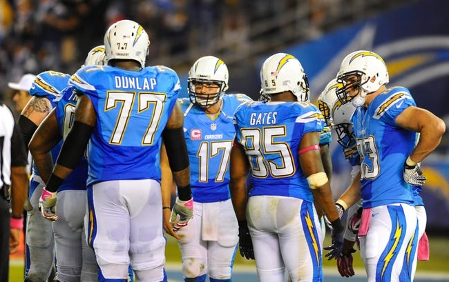Oct 14, 2013; San Diego, CA, USA; San Diego Chargers quarterback Philip Rivers (17) talks in the huddle during the second half against the Indianapolis Colts at Qualcomm Stadium. The Chargers won 19-9. Mandatory Credit: Christopher Hanewinckel-USA TODAY Sports
