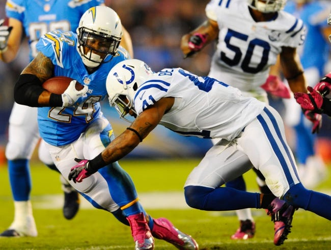 Oct 14, 2013; San Diego, CA, USA; San Diego Chargers running back Ryan Mathews (24) runs for a short gain during the first half against the Indianapolis Colts at Qualcomm Stadium. Mandatory Credit: Christopher Hanewinckel-USA TODAY Sports