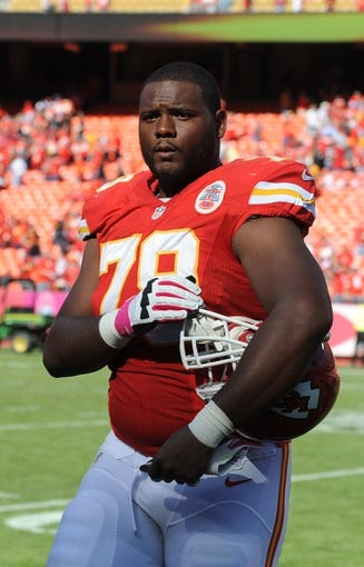 Oct 13, 2013; Kansas City, MO, USA; Kansas City Chiefs tackle Donald Stephenson (79) leaves the field after the game against the Oakland Raiders at Arrowhead Stadium. Kansas City won the game 24-7. Mandatory Credit: John Rieger-USA TODAY Sports