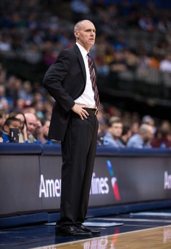 Oct 14, 2013; Dallas, TX, USA; Dallas Mavericks head coach Rick Carlisle watches his team take on the Orlando Magic during the game at the American Airlines Center. The Magic defeated the Mavericks 102-94. Mandatory Credit: Jerome Miron-USA TODAY Sports