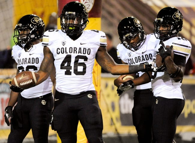 Oct 12, 2013; Tempe, AZ, USA; Colorado Buffaloes running back Christian Powell (46) practices during warm ups before the first quarter against the Arizona State Sun Devils at Sun Devil Stadium. The Sun Devils beat the Buffaloes 54-13. Mandatory Credit: Casey Sapio-USA TODAY Sports