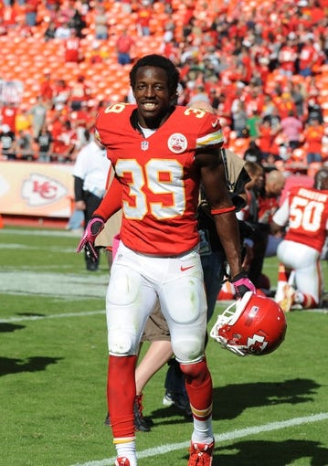 Oct 13, 2013; Kansas City, MO, USA; Kansas City Chiefs defensive back Husain Abdullah (39) leaves the field after the game against the Oakland Raiders at Arrowhead Stadium. Kansas City won the game 24-7. Mandatory Credit: John Rieger-USA TODAY Sports