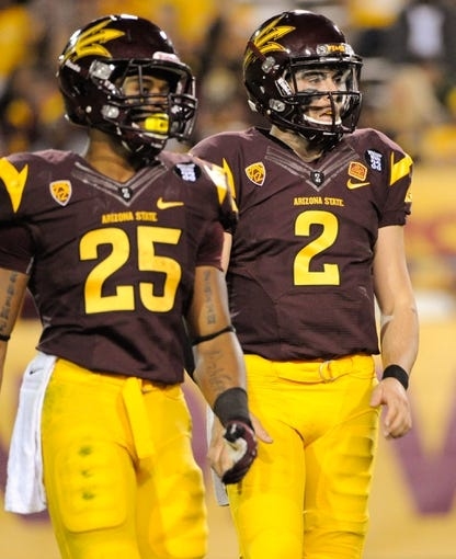 Oct 12, 2013; Tempe, AZ, USA; Arizona State Sun Devils quarterback Mike Bercovici (2) in between plays during the third quarter against the Colorado Buffaloes at Sun Devil Stadium. The Sun Devils beat the Buffaloes 54-13. Mandatory Credit: Casey Sapio-USA TODAY Sports