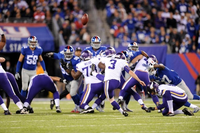 Oct 21, 2013; East Rutherford, NJ, USA; Minnesota Vikings kicker Blair Walsh (3) misses a field goal against the New York Giants during the first half at MetLife Stadium. The Giants won the game 23-7. Mandatory Credit: Joe Camporeale-USA TODAY Sports