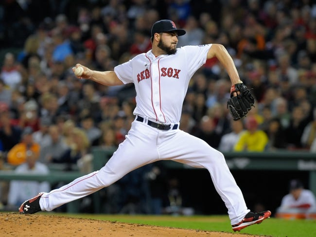Oct 19, 2013; Boston, MA, USA; Boston Red Sox relief pitcher Brandon Workman (67) pitches during the sixth inning in game six of the American League Championship Series baseball game against the Detroit Tigers at Fenway Park. Mandatory Credit: Bob DeChiara-USA TODAY Sports