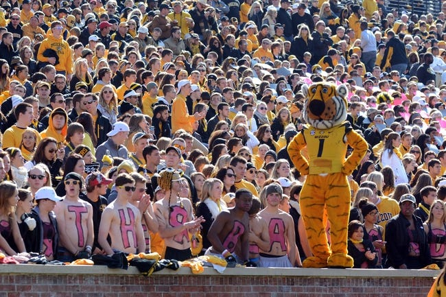 Oct 19, 2013; Columbia, MO, USA; Missouri Tigers mascot performs for the fans during the second half of the game against the Florida Gators at Faurot Field. Missouri won 36-17. Mandatory Credit: Denny Medley-USA TODAY Sports