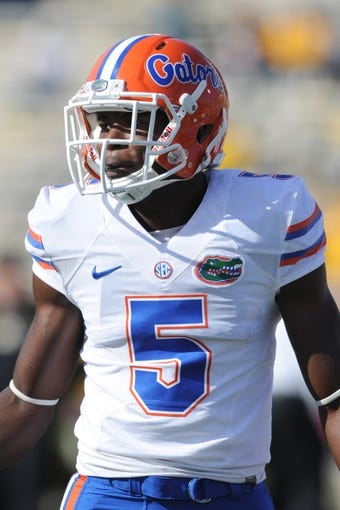Oct 19, 2013; Columbia, MO, USA; Florida Gators wide receiver Ahmad Fulwood (5) warms up before the game against the Missouri Tigers at Faurot Field. Missouri won 36-17. Mandatory Credit: Denny Medley-USA TODAY Sports