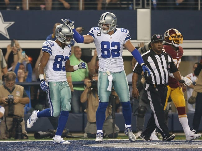 Oct 13, 2013; Arlington, TX, USA; Dallas Cowboys receiver Terrance Williams (83) celebrates his touchdown in the third quarter with tight end Jason Witten (82) against Washington Redskins cornerback David Amerson (39) at AT&T Stadium. Mandatory Credit: Matthew Emmons-USA TODAY Sports