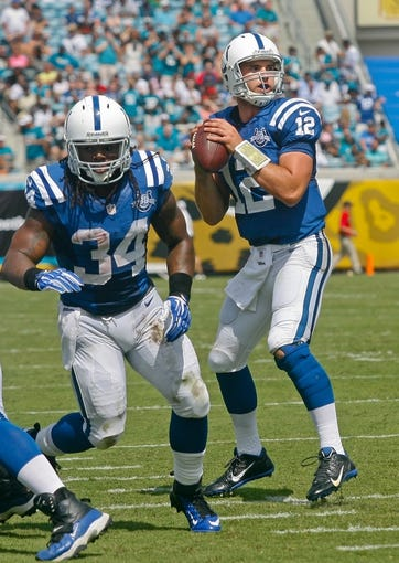 Sep 29, 2013; Jacksonville, FL, USA; Indianapolis Colts running back Trent Richardson (34) protects quarterback Andrew Luck (12) before he throws a touchdown pass to wide receiver Reggie Wayne (not pictured) in the second quarter of their game against the Jacksonville Jaguars at EverBank Field. The Indianapolis Colts beat the Jacksonville Jaguars 37-3. Mandatory Credit: Phil Sears-USA TODAY Sports