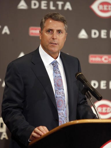 Oct 22, 2013; Cincinnati, OH, USA; Cincinnati Reds new manager Bryan Price speaks during a news conference at Great American Ballpark. Mandatory Credit: David Kohl-USA TODAY Sports