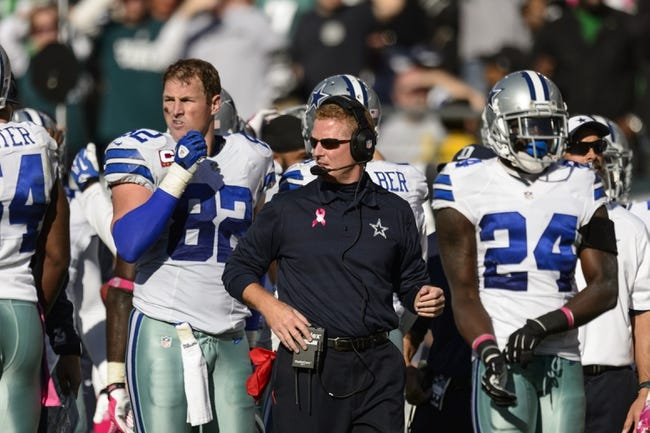 Oct 20, 2013; Philadelphia, PA, USA; Dallas Cowboys head coach Jason Garrett along the sidelines during the third quarter against the Philadelphia Eagles at Lincoln Financial Field. The Cowboys defeated the Eagles 17-3. Mandatory Credit: Howard Smith-USA TODAY Sports