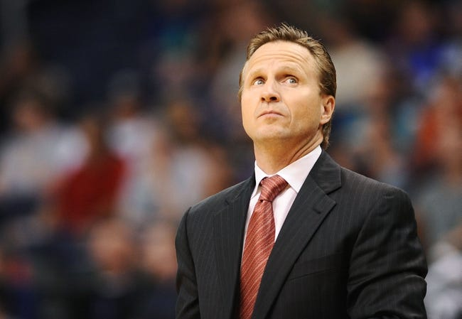 Oct 22, 2013; Phoenix, AZ, USA; Oklahoma City Thunder head coach Scott Brooks reacts on the court in the game against the Phoenix Suns in the first half at US Airways Center. Mandatory Credit: Jennifer Stewart-USA TODAY Sports