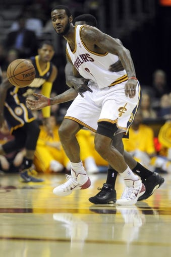 Oct 19, 2013; Cleveland, OH, USA; Cleveland Cavaliers forward Earl Clark (6) during the game against the Indiana Pacers at Quicken Loans Arena. The Pacers beat the Cavaliers 102-79. Mandatory Credit: Ken Blaze-USA TODAY Sports