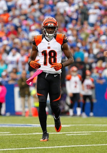 Oct 13, 2013; Orchard Park, NY, USA; Cincinnati Bengals wide receiver A.J. Green (18) during a game against the Buffalo Bills at Ralph Wilson Stadium. Mandatory Credit: Timothy T. Ludwig-USA TODAY Sports