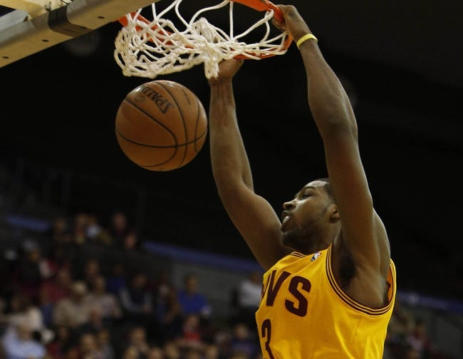 Oct 23, 2013; Cincinnati, OH, USA; Cleveland Cavaliers guard Dion Waiters (3) dunks the ball against the Washington Wizards during the first half at US Bank Arena. Mandatory Credit: David Kohl-USA TODAY Sports