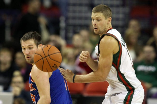 Oct 23, 2013; Green Bay, WI, USA; New York Knicks guard Beno Udrih (left) and Milwaukee Bucks guard Luke Ridnour (right) check a loose ball at the Resch Center in Green Bay.  The Milwaukee Bucks defeated the New York Knicks 105-95. Mandatory Credit: Mary Langenfeld-USA TODAY Sports