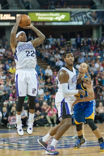 Oct 23, 2013; Sacramento, CA, USA; Sacramento Kings point guard Isaiah Thomas (22) takes a shot against the Golden State Warriors during the fourth quarter at Sleep Train Arena. The Sacramento Kings defeated the Golden State Warriors 91-90. Mandatory Credit: Ed Szczepanski-USA TODAY Sports