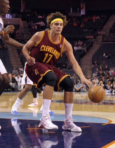 Oct 24, 2013; Charlotte, NC, USA; Cleveland Cavaliers forward center Anderson Varejao (17) during the game against the Charlotte Bobcats at Time Warner Cable Arena. Mandatory Credit: Sam Sharpe-USA TODAY Sports