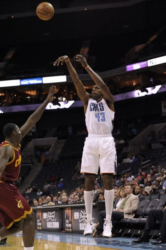 Oct 24, 2013; Charlotte, NC, USA; Charlotte Bobcats forward Anthony Tolliver (43) shoots a jump shot during the game against the Cleveland Cavaliers at Time Warner Cable Arena. Bobcats win 102-95. Mandatory Credit: Sam Sharpe-USA TODAY Sports