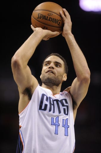 Oct 24, 2013; Charlotte, NC, USA; Charlotte Bobcats forward Jeffery Taylor (44) shoots a foul shot during the game against the Cleveland Cavaliers at Time Warner Cable Arena. Bobcats win 102-95. Mandatory Credit: Sam Sharpe-USA TODAY Sports