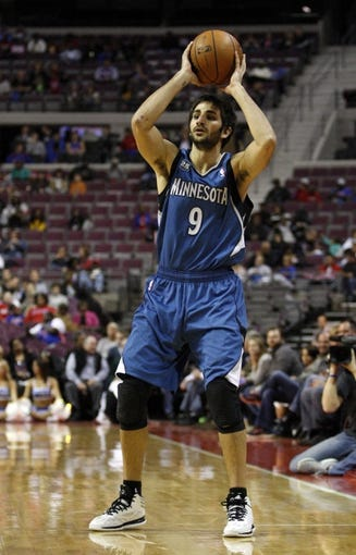 Oct 24, 2013; Auburn Hills, MI, USA; Minnesota Timberwolves point guard Ricky Rubio (9) looks to pass the ball during the second quarter against the Detroit Pistons at The Palace of Auburn Hills. Mandatory Credit: Raj Mehta-USA TODAY Sports