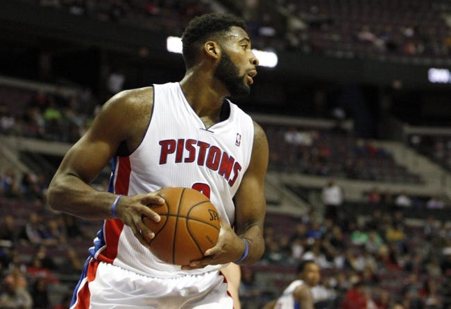 Oct 24, 2013; Auburn Hills, MI, USA; Detroit Pistons center Andre Drummond (0) looks for an open man during the second quarter against the Minnesota Timberwolves at The Palace of Auburn Hills. Mandatory Credit: Raj Mehta-USA TODAY Sports
