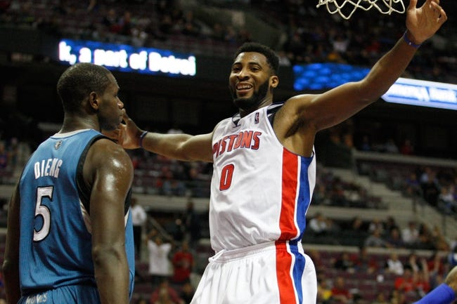Oct 24, 2013; Auburn Hills, MI, USA; Detroit Pistons center Andre Drummond (0) smiles after a dunk during the fourth quarter against the Minnesota Timberwolves at The Palace of Auburn Hills. Pistons beat the Timberwolves 99-98. Mandatory Credit: Raj Mehta-USA TODAY Sports