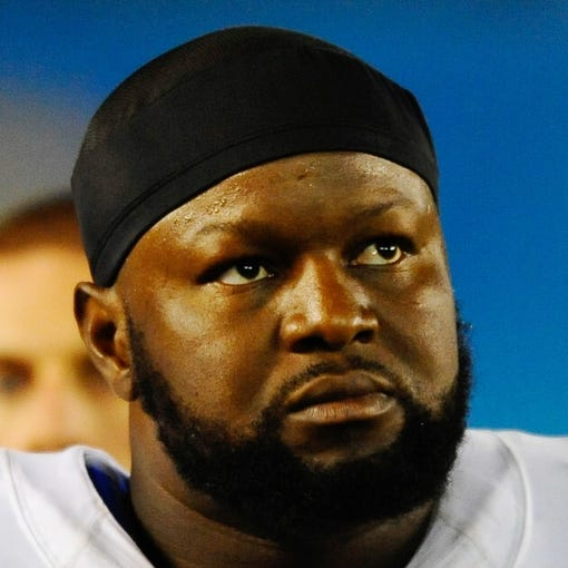 Oct 14, 2013; San Diego, CA, USA; Indianapolis Colts offensive tackle Gosder Cherilus (78) during the second half against the San Diego Chargers at Qualcomm Stadium. The Chargers won 19-9. Mandatory Credit: Christopher Hanewinckel-USA TODAY Sports