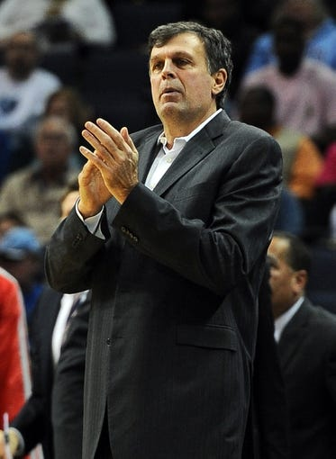 Oct 25, 2013; Memphis, TN, USA; Houston Rockets head coach Kevin McHale calls for a timeout against the Memphis Grizzlies during the first quarter at FedExForum. Mandatory Credit: Justin Ford-USA TODAY Sports