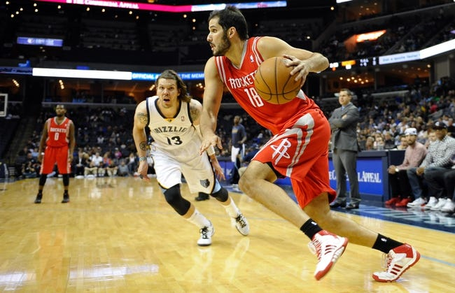 Oct 25, 2013; Memphis, TN, USA; Houston Rockets small forward Omri Casspi (18) handles the ball against Memphis Grizzlies during the third quarter at FedExForum. Memphis Grizzlies lose to Houston Rockets 92 - 73. Mandatory Credit: Justin Ford-USA TODAY Sports