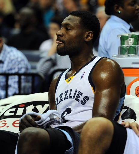 Oct 25, 2013; Memphis, TN, USA; Memphis Grizzlies shooting guard Tony Allen (9) sits on the bench during the third quarter at FedExForum. The Rockets won 92-73. Mandatory Credit: Justin Ford-USA TODAY Sports