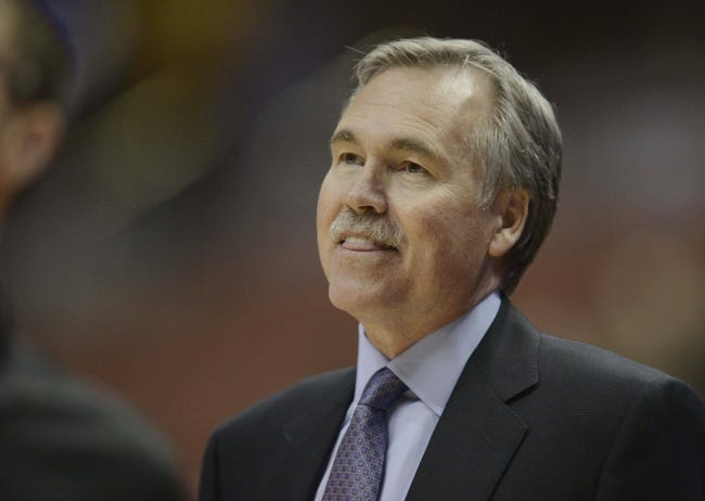 Oct 25, 2013; Anaheim, CA, USA; Los Angeles Lakers head coach Mike D'Antoni during the game against the Utah Jazz during the first quarter at Honda Center. Mandatory Credit: Kelvin Kuo-USA TODAY Sports