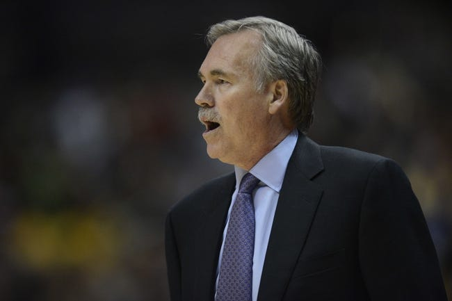 Oct 25, 2013; Anaheim, CA, USA; Los Angeles Lakers head coach Mike D'Antoni during the game against the Utah Jazz during the second quarter at Honda Center. Mandatory Credit: Kelvin Kuo-USA TODAY Sports