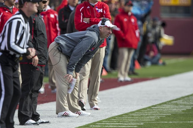 Oct 26, 2013; Minneapolis, MN, USA; Nebraska Cornhuskers head coach Bo Pellini looks on from the sidelines in the second quarter against the Minnesota Golden Gophers at TCF Bank Stadium. Mandatory Credit: Jesse Johnson-USA TODAY Sports