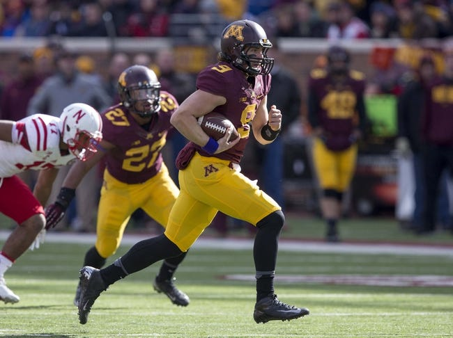 Oct 26, 2013; Minneapolis, MN, USA; Minnesota Golden Gophers quarterback Philip Nelson (9) rushes with the ball for a first down in the second quarter against the Nebraska Cornhuskers at TCF Bank Stadium. Mandatory Credit: Jesse Johnson-USA TODAY Sports
