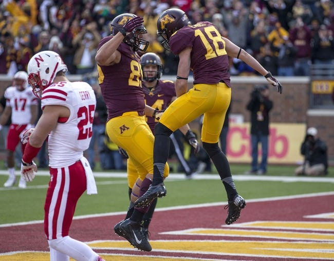 Oct 26, 2013; Minneapolis, MN, USA; Minnesota Golden Gophers wide receiver Derrick Engel (18) celebrates with  tight end Lincoln Plsek (85) after scoring a touchdown in the second quarter against the Nebraska Cornhuskers at TCF Bank Stadium. Mandatory Credit: Jesse Johnson-USA TODAY Sports