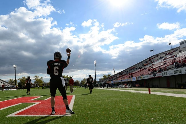 Oct 26, 2013; DeKalb, IL, USA; Northern Illinois Huskies quarterback Jordan Lynch (6) practices before the game against the Eastern Michigan Eagles  at Huskie Stadium. Mandatory Credit: Mike DiNovo-USA TODAY Sports